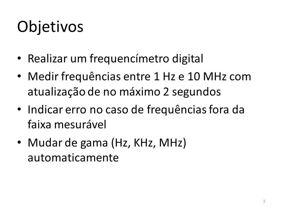 Objetivos Realizar um frequencímetro digital Medir frequências entre 1 Hz e 10 MHz com atualização de no máximo 2 segundos Indicar erro no caso de fre