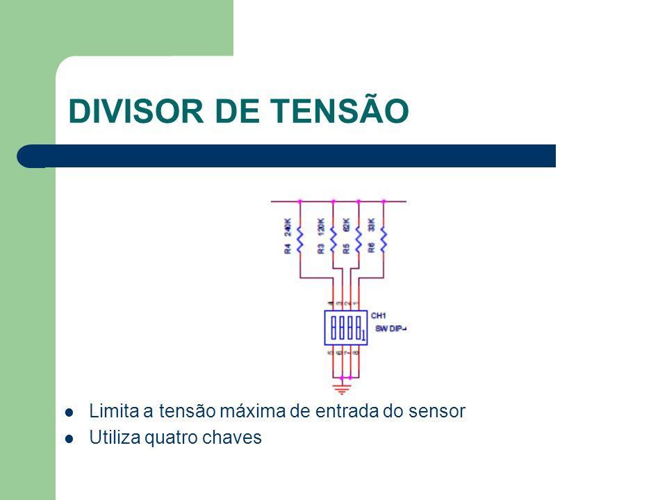 DIVISOR DE TENSÃO Limita a tensão máxima de entrada do sensor Utiliza quatro chaves