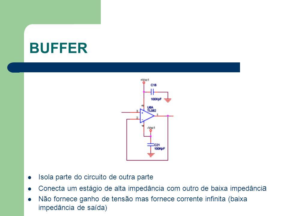 BUFFER Isola parte do circuito de outra parte Conecta um estágio de alta impedância com outro de baixa impedânci a Não fornece ganho de tensão mas for