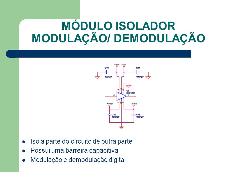 MÓDULO ISOLADOR MODULAÇÃO/ DEMODULAÇÃO Isola parte do circuito de outra parte Possui uma barreira capacitiva Modulação e demodulação digital