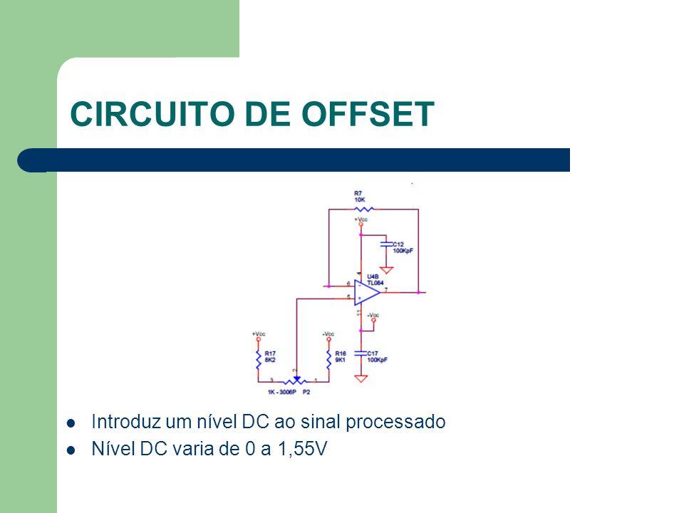 CIRCUITO DE OFFSET Introduz um nível DC ao sinal processado Nível DC varia de 0 a 1,55V