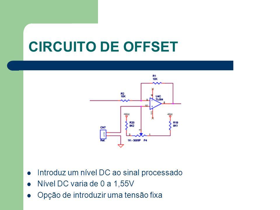 CIRCUITO DE OFFSET Introduz um nível DC ao sinal processado Nível DC varia de 0 a 1,55V Opção de introduzir uma tensão fixa