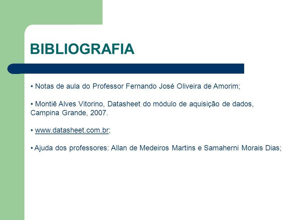 BIBLIOGRAFIA Notas de aula do Professor Fernando José Oliveira de Amorim; Montiê Alves Vitorino, Datasheet do módulo de aquisição de dados, Campina Gr