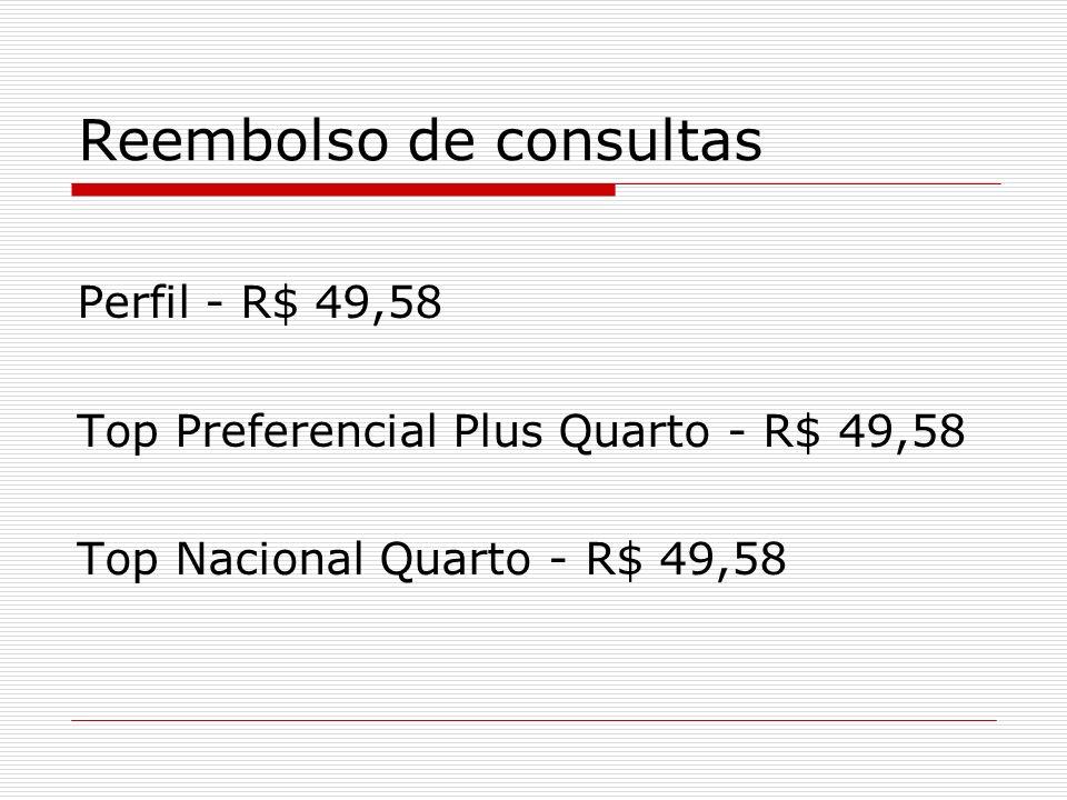 Reembolso de consultas Perfil - R$ 49,58 Top Preferencial Plus Quarto - R$ 49,58 Top Nacional Quarto - R$ 49,58