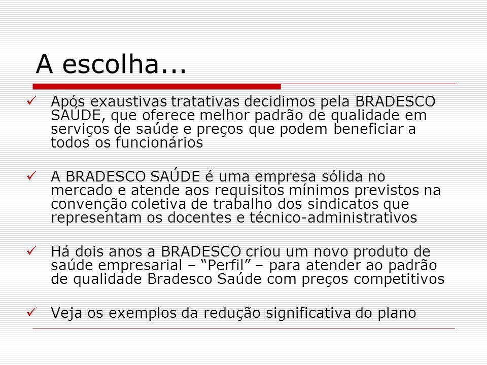 A escolha... Após exaustivas tratativas decidimos pela BRADESCO SAÚDE, que oferece melhor padrão de qualidade em serviços de saúde e preços que podem
