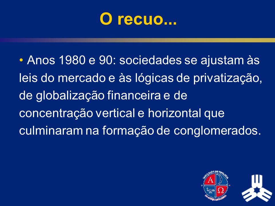 O recuo... Anos 1980 e 90: sociedades se ajustam às leis do mercado e às lógicas de privatização, de globalização financeira e de concentração vertica