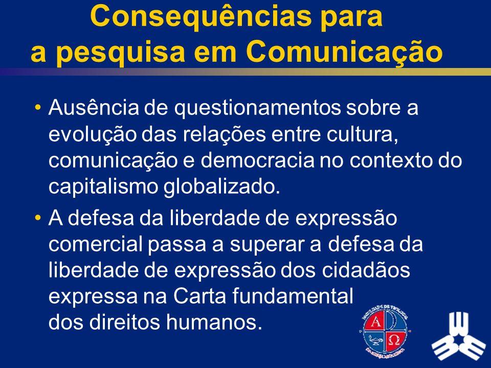Consequências para a pesquisa em Comunicação Ausência de questionamentos sobre a evolução das relações entre cultura, comunicação e democracia no cont