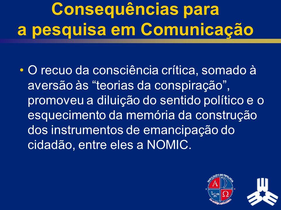 Consequências para a pesquisa em Comunicação O recuo da consciência crítica, somado à aversão às teorias da conspiração, promoveu a diluição do sentid