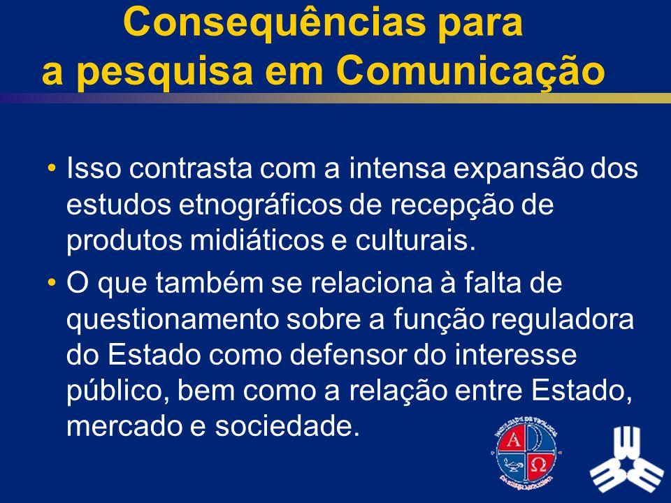 Consequências para a pesquisa em Comunicação Isso contrasta com a intensa expansão dos estudos etnográficos de recepção de produtos midiáticos e cultu