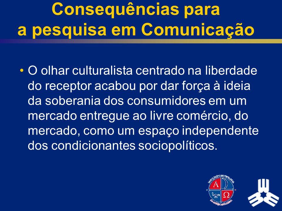 Consequências para a pesquisa em Comunicação O olhar culturalista centrado na liberdade do receptor acabou por dar força à ideia da soberania dos cons