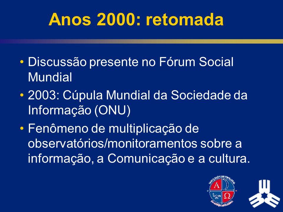 Anos 2000: retomada Discussão presente no Fórum Social Mundial 2003: Cúpula Mundial da Sociedade da Informação (ONU) Fenômeno de multiplicação de obse