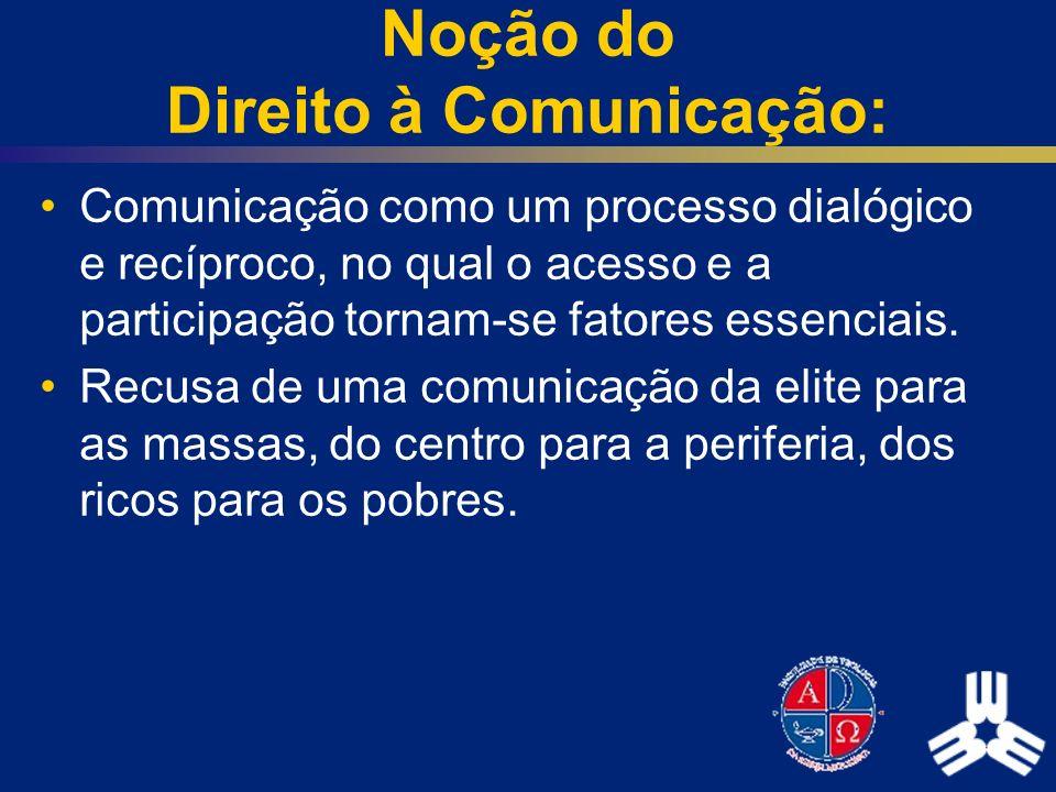 Noção do Direito à Comunicação: Comunicação como um processo dialógico e recíproco, no qual o acesso e a participação tornam-se fatores essenciais. Re