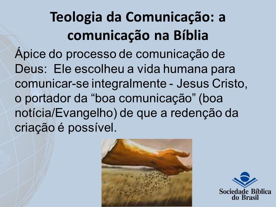 Teologia da Comunicação: a comunicação na Bíblia Ápice do processo de comunicação de Deus: Ele escolheu a vida humana para comunicar-se integralmente