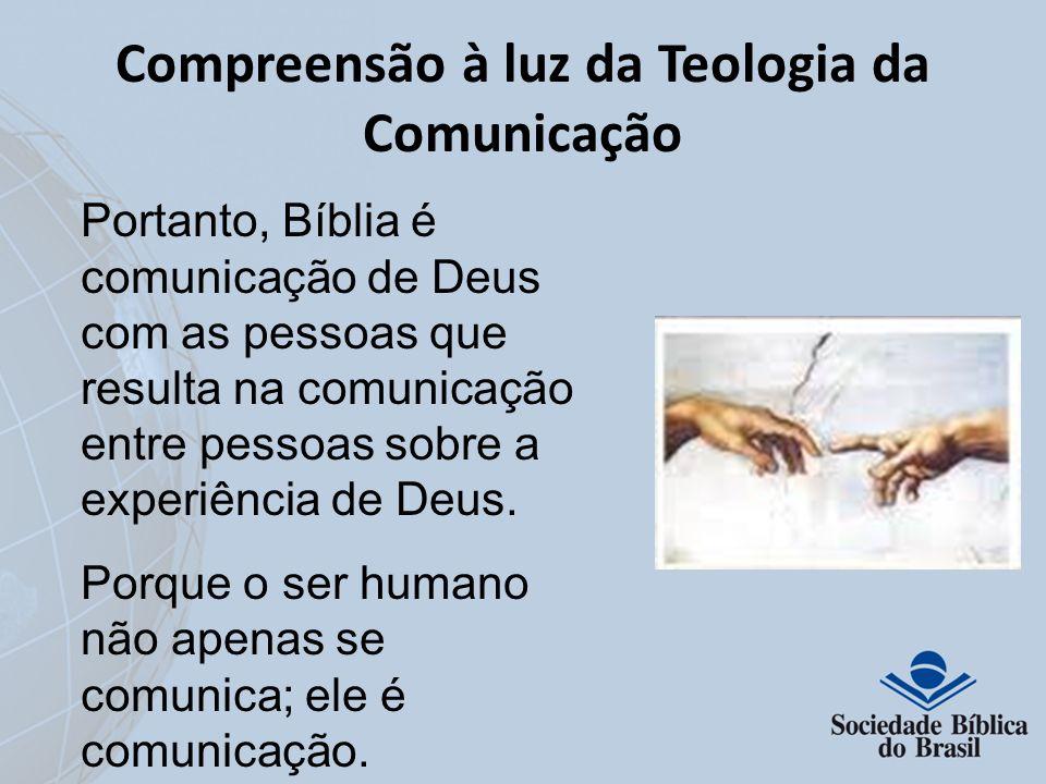 Compreensão à luz da Teologia da Comunicação Portanto, Bíblia é comunicação de Deus com as pessoas que resulta na comunicação entre pessoas sobre a ex