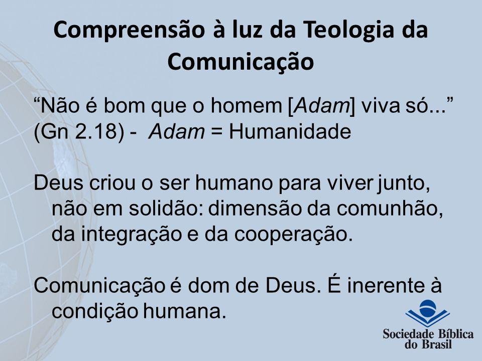 Compreensão à luz da Teologia da Comunicação Não é bom que o homem [Adam] viva só... (Gn 2.18) - Adam = Humanidade Deus criou o ser humano para viver