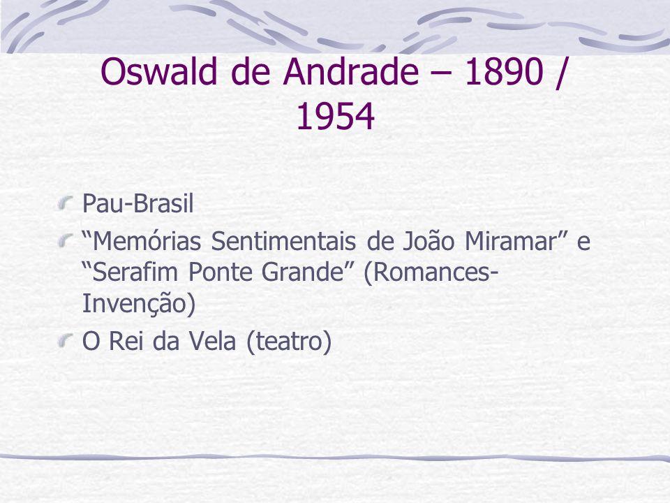 Oswald de Andrade – 1890 / 1954 Pau-Brasil Memórias Sentimentais de João Miramar e Serafim Ponte Grande (Romances- Invenção) O Rei da Vela (teatro)