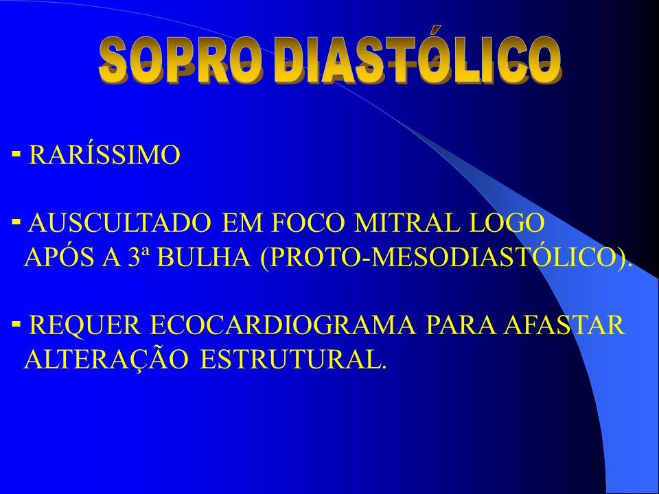 RARÍSSIMO AUSCULTADO EM FOCO MITRAL LOGO APÓS A 3ª BULHA (PROTO-MESODIASTÓLICO). REQUER ECOCARDIOGRAMA PARA AFASTAR ALTERAÇÃO ESTRUTURAL.