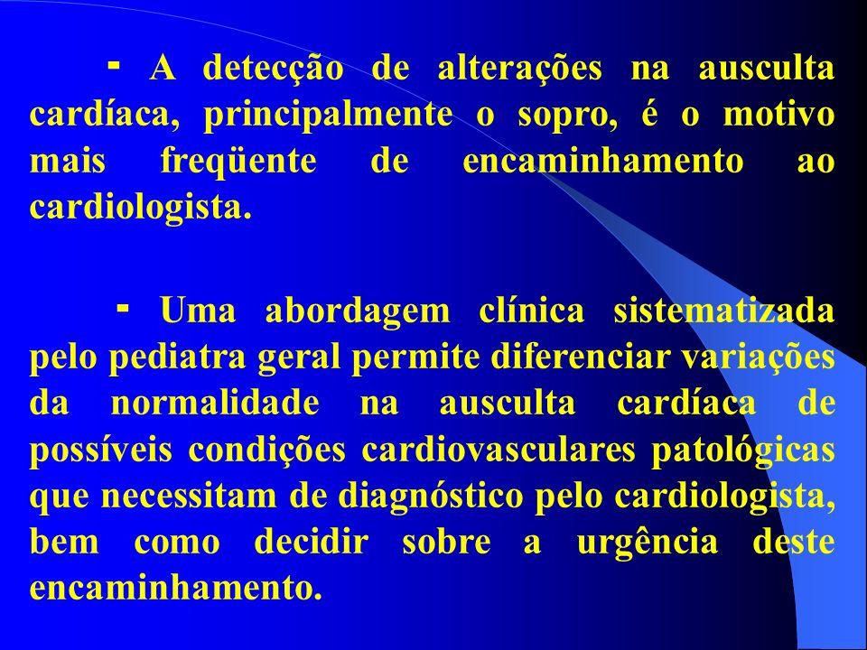 A detecção de alterações na ausculta cardíaca, principalmente o sopro, é o motivo mais freqüente de encaminhamento ao cardiologista. Uma abordagem clí