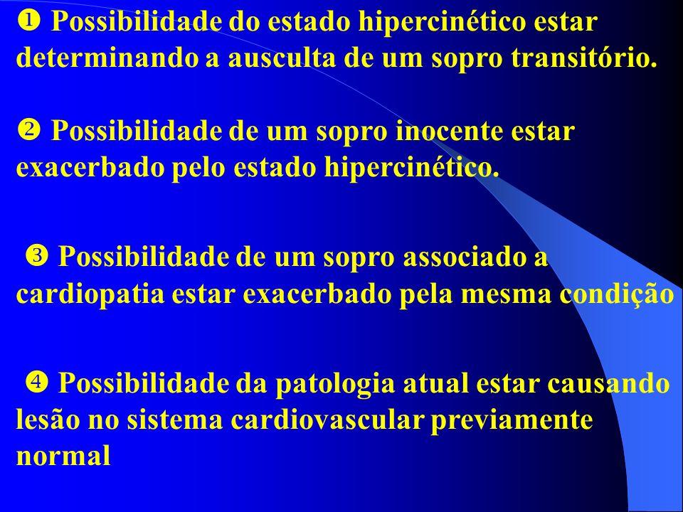 Possibilidade do estado hipercinético estar determinando a ausculta de um sopro transitório. Possibilidade de um sopro inocente estar exacerbado pelo