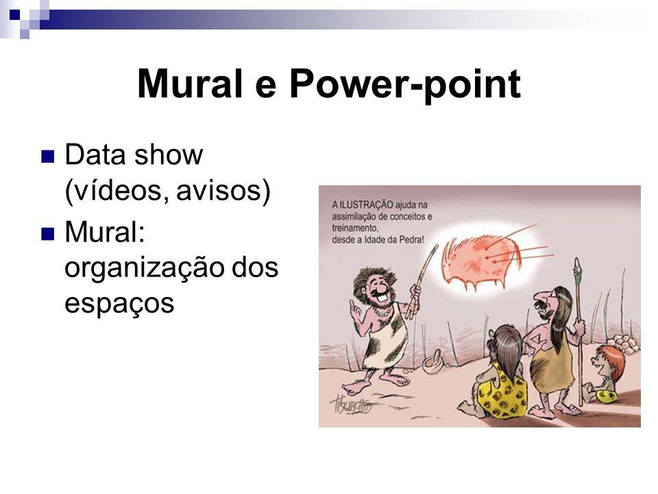 Mural e Power-point Data show (vídeos, avisos) Mural: organização dos espaços