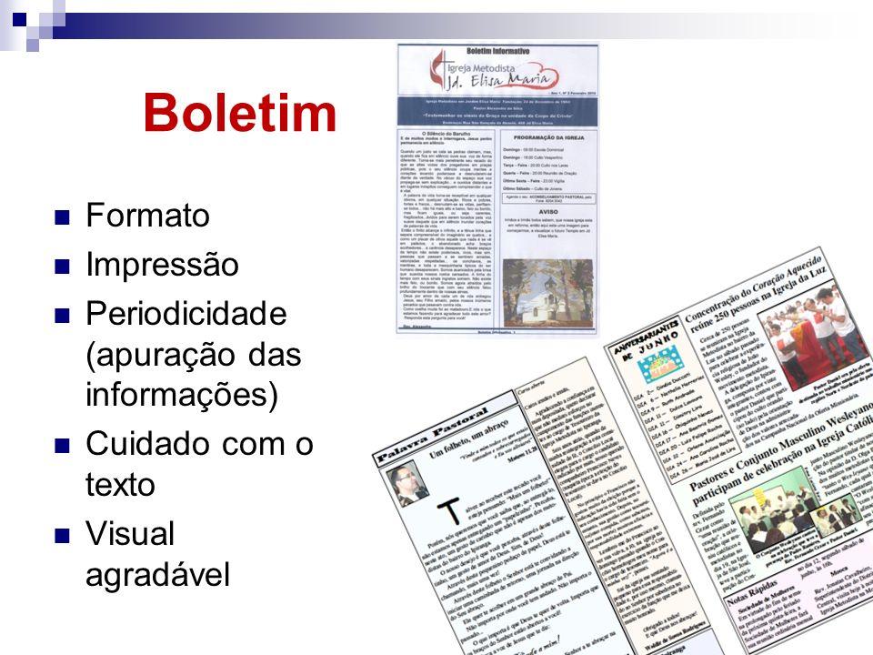 Boletim Formato Impressão Periodicidade (apuração das informações) Cuidado com o texto Visual agradável