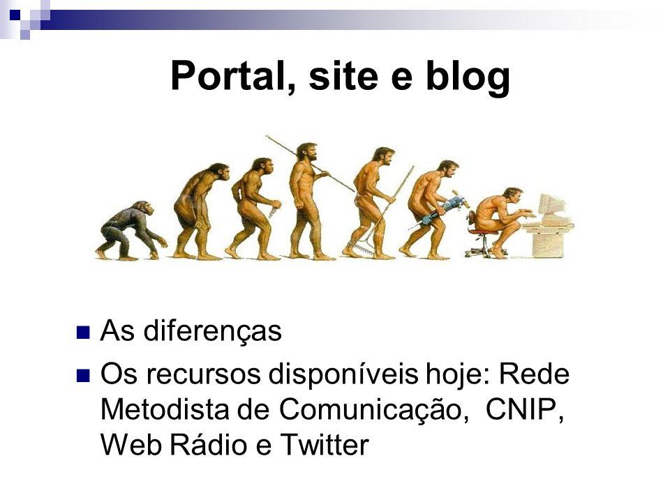 Portal, site e blog As diferenças Os recursos disponíveis hoje: Rede Metodista de Comunicação, CNIP, Web Rádio e Twitter