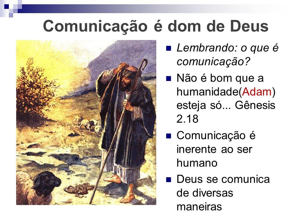 Comunicação é dom de Deus Lembrando: o que é comunicação? Não é bom que a humanidade(Adam) esteja só... Gênesis 2.18 Comunicação é inerente ao ser hum