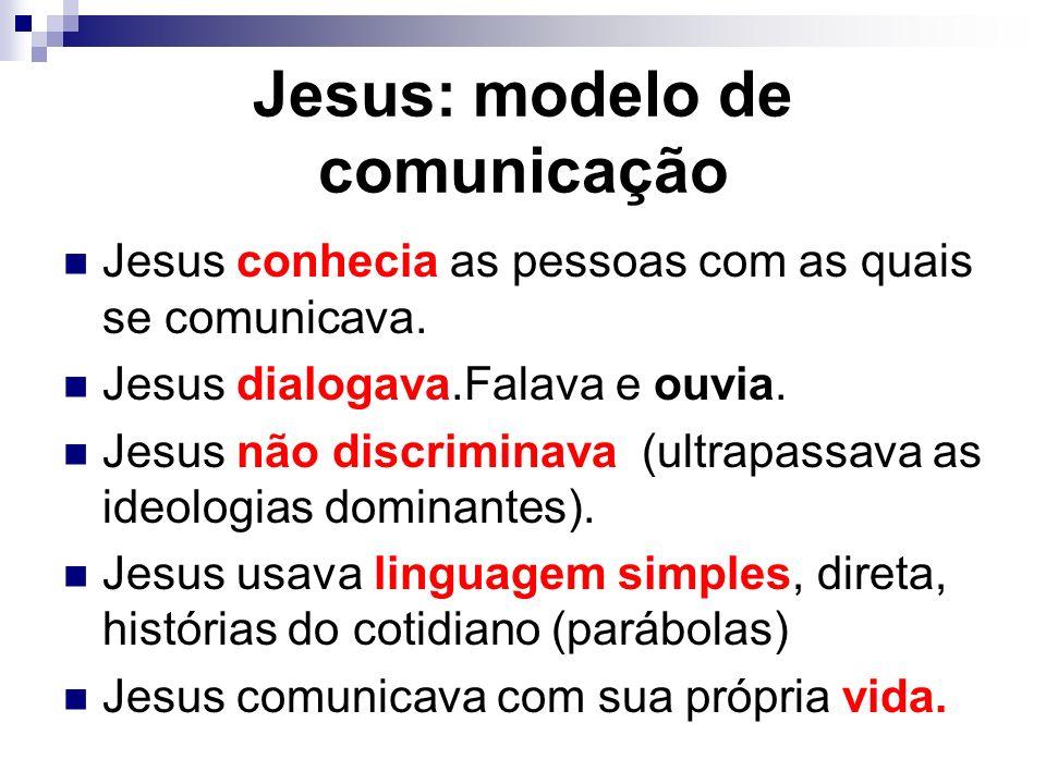 Jesus conhecia as pessoas com as quais se comunicava. Jesus dialogava.Falava e ouvia. Jesus não discriminava (ultrapassava as ideologias dominantes).