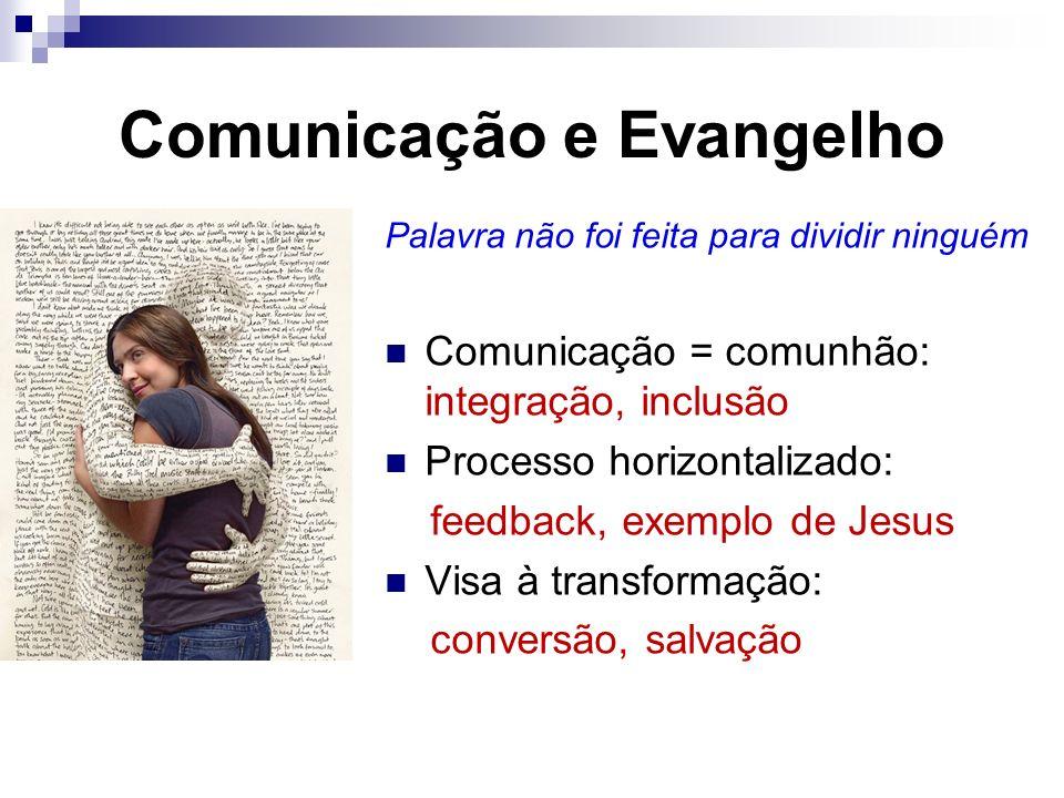 Comunicação e Evangelho Palavra não foi feita para dividir ninguém Comunicação = comunhão: integração, inclusão Processo horizontalizado: feedback, ex