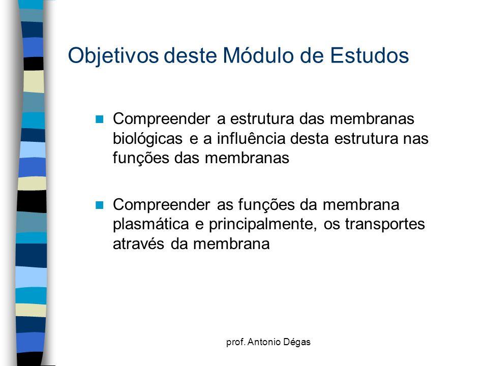 prof. Antonio Dégas Objetivos deste Módulo de Estudos Compreender a estrutura das membranas biológicas e a influência desta estrutura nas funções das