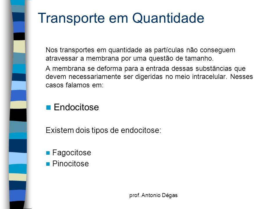 prof. Antonio Dégas Transporte em Quantidade Nos transportes em quantidade as partículas não conseguem atravessar a membrana por uma questão de tamanh