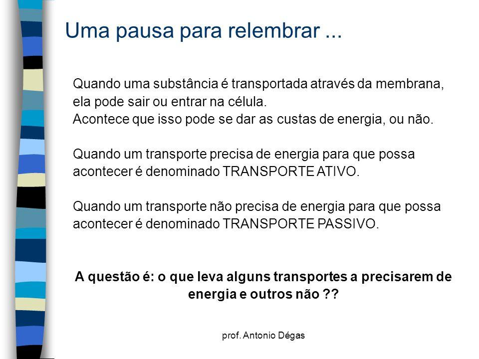 prof. Antonio Dégas Uma pausa para relembrar... Quando uma substância é transportada através da membrana, ela pode sair ou entrar na célula. Acontece
