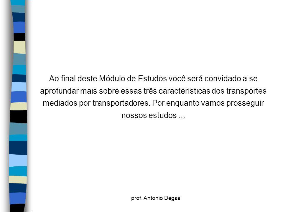 prof. Antonio Dégas Ao final deste Módulo de Estudos você será convidado a se aprofundar mais sobre essas três características dos transportes mediado