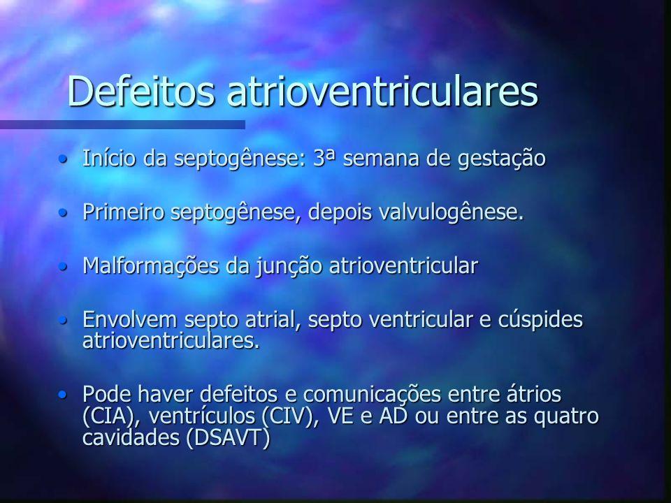 Defeitos atrioventriculares Início da septogênese: 3ª semana de gestaçãoInício da septogênese: 3ª semana de gestação Primeiro septogênese, depois valv
