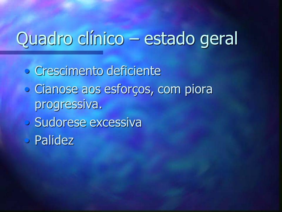 Quadro clínico – estado geral Crescimento deficienteCrescimento deficiente Cianose aos esforços, com piora progressiva.Cianose aos esforços, com piora
