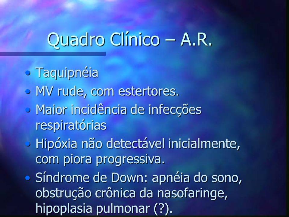 Quadro Clínico – A.R. TaquipnéiaTaquipnéia MV rude, com estertores.MV rude, com estertores. Maior incidência de infecções respiratóriasMaior incidênci