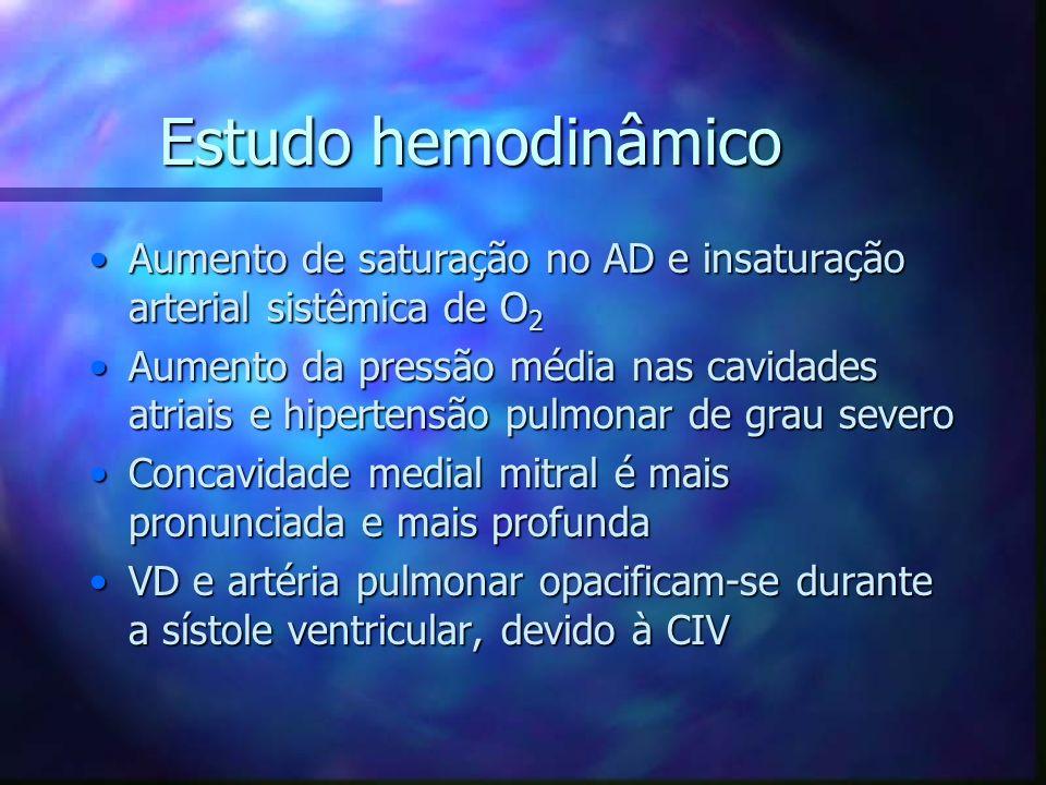Estudo hemodinâmico Aumento de saturação no AD e insaturação arterial sistêmica de O 2Aumento de saturação no AD e insaturação arterial sistêmica de O