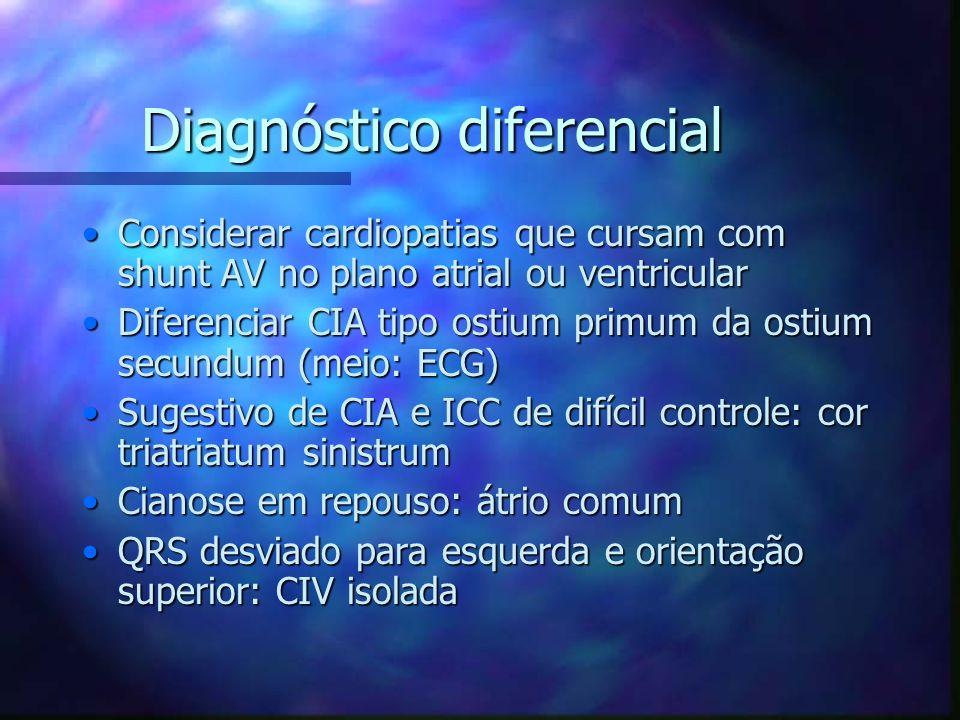 Diagnóstico diferencial Considerar cardiopatias que cursam com shunt AV no plano atrial ou ventricularConsiderar cardiopatias que cursam com shunt AV