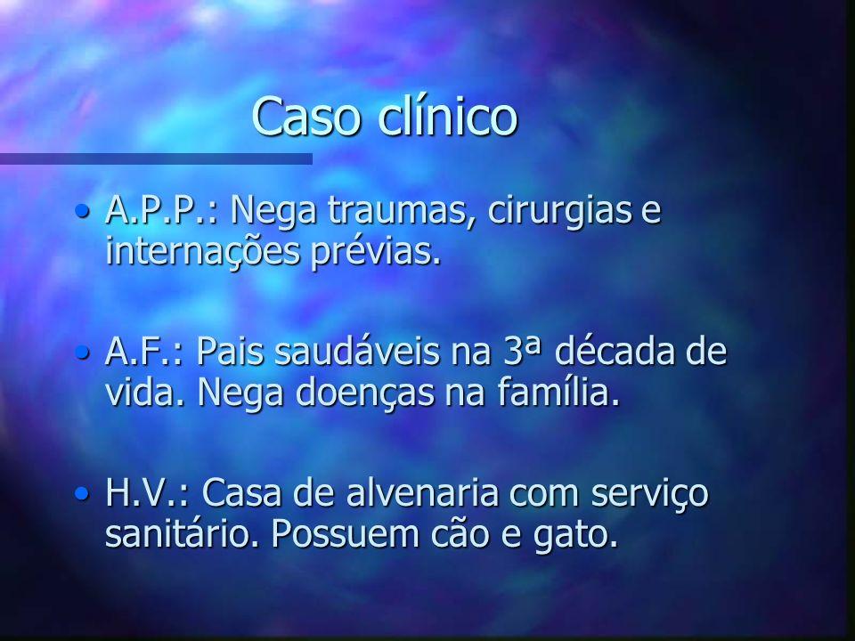 Caso clínico A.P.P.: Nega traumas, cirurgias e internações prévias.A.P.P.: Nega traumas, cirurgias e internações prévias. A.F.: Pais saudáveis na 3ª d