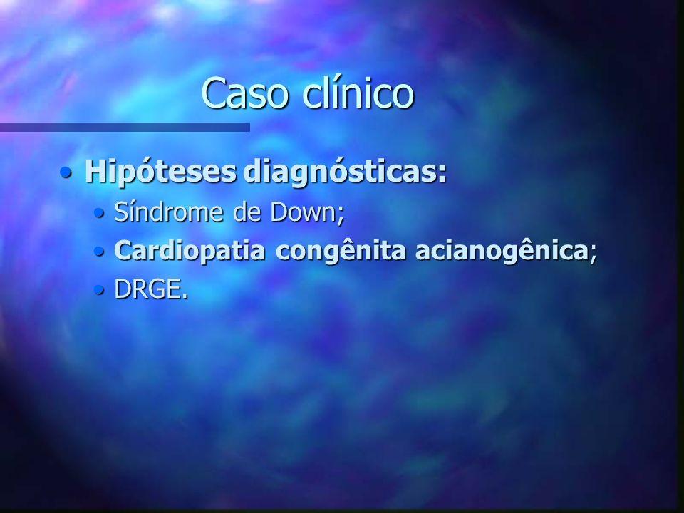 Caso clínico Hipóteses diagnósticas:Hipóteses diagnósticas: Síndrome de Down;Síndrome de Down; Cardiopatia congênita acianogênica;Cardiopatia congênit