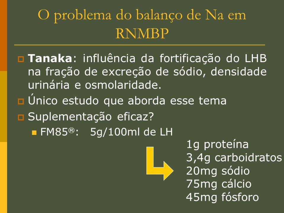 O problema do balanço de Na em RNMBP Tanaka: influência da fortificação do LHB na fração de excreção de sódio, densidade urinária e osmolaridade. Únic