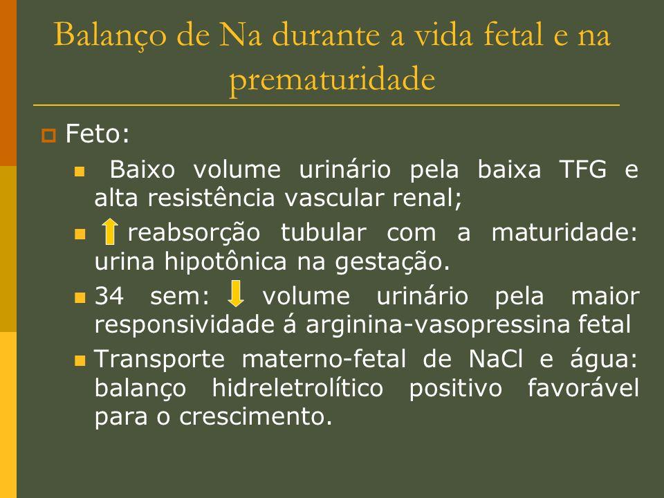 Balanço de Na durante a vida fetal e na prematuridade Feto: Baixo volume urinário pela baixa TFG e alta resistência vascular renal; reabsorção tubular