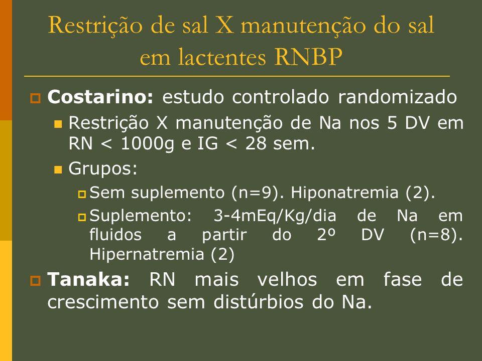 Restrição de sal X manutenção do sal em lactentes RNBP Costarino: estudo controlado randomizado Restrição X manutenção de Na nos 5 DV em RN < 1000g e