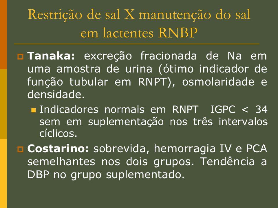 Restrição de sal X manutenção do sal em lactentes RNBP Tanaka: excreção fracionada de Na em uma amostra de urina (ótimo indicador de função tubular em