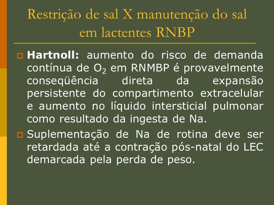 Restrição de sal X manutenção do sal em lactentes RNBP Hartnoll: aumento do risco de demanda contínua de O 2 em RNMBP é provavelmente conseqüência dir