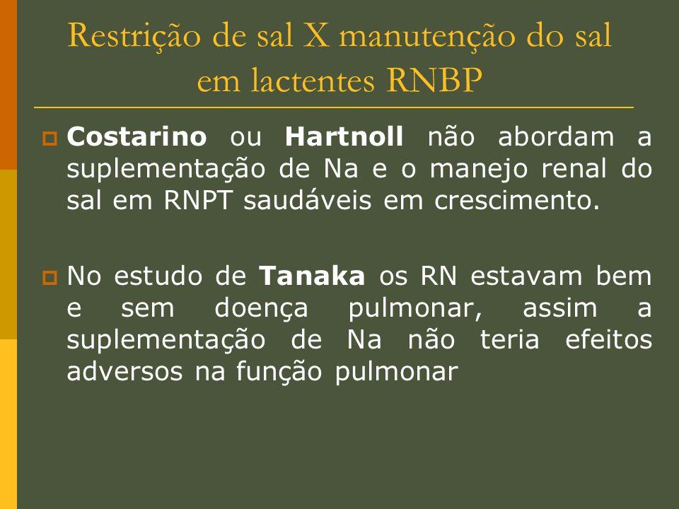 Restrição de sal X manutenção do sal em lactentes RNBP Costarino ou Hartnoll não abordam a suplementação de Na e o manejo renal do sal em RNPT saudáve