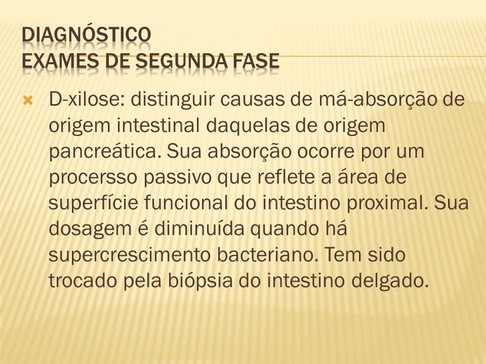 D-xilose: distinguir causas de má-absorção de origem intestinal daquelas de origem pancreática.