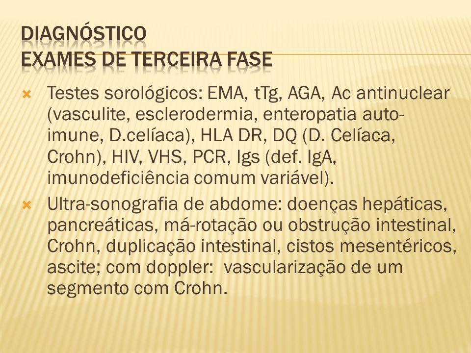 Testes sorológicos: EMA, tTg, AGA, Ac antinuclear (vasculite, esclerodermia, enteropatia auto- imune, D.celíaca), HLA DR, DQ (D.