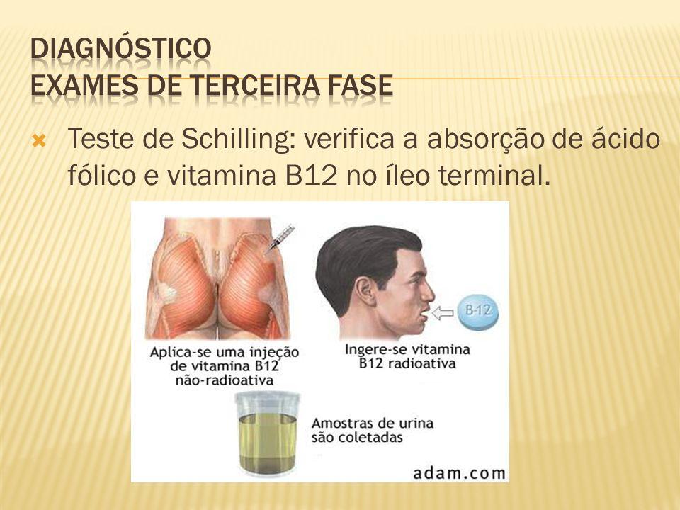 Teste de Schilling: verifica a absorção de ácido fólico e vitamina B12 no íleo terminal.