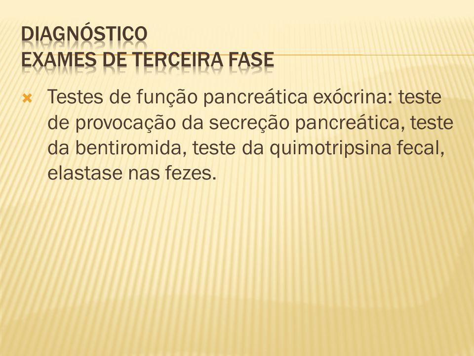 Testes de função pancreática exócrina: teste de provocação da secreção pancreática, teste da bentiromida, teste da quimotripsina fecal, elastase nas fezes.